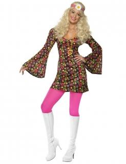 60er 70er Hippie Damenkostüm Peace schwarz-pink-bunt