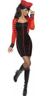 Zirkusdirektorin Militär Damenkostüm schwarz-rot