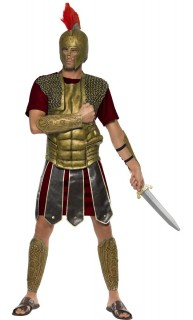 Römischer Krieger Antike Herrenkostüm dunkelrot-gold