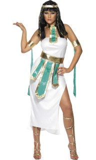 Pharaonin Cleopatra ägypterin Antike Damenkostüm türkis-weiss-gold