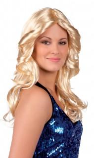 Damenperücke lockig Disko blond