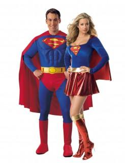 Supergirl und Superman - Paarkostüm für Erwachsene rot-blau