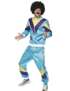 80er Jahre-Kostüm für Herren Trainingsanzug Kostüm türkis-gelb-lila