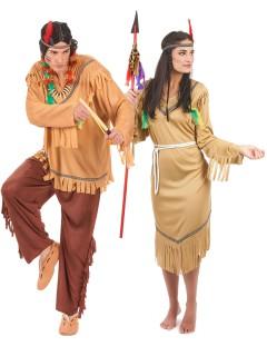 Indianer-Paarkostüm für Erwachsene braun