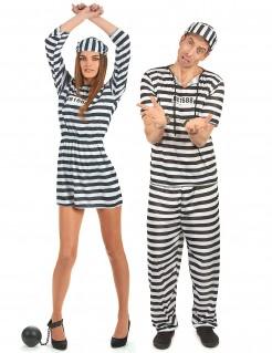 Gefangenenkostüm für kriminelle Pärchen - schwarz/weiß