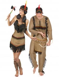 Indianerkostüm für Paare Karneval braun-schwarz