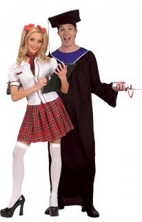 Diplomierte Studenten - Paarkostüm für Erwachsene, schwarz-blau und weiß-rot