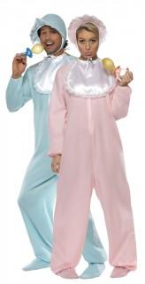 Witziges Baby-Paarkostüm für Erwachsene in Rosa und Hellblau