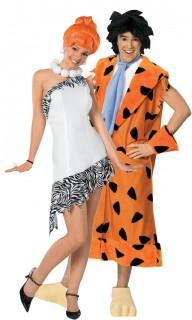 Wilma und Fred Feuerstein™-Paarkostüm Karneval orange-schwarz-weiss