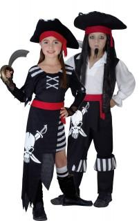 Piratenkapitän-Paarkostüm für Kinder Karneval schwarz-weiss-rot