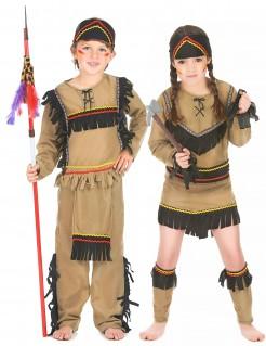 Indianer-Paar-Kostüm für Kinder braun-schwarz