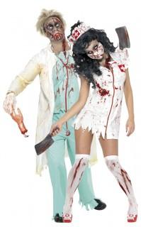 Zombie-Doktor und Zombie-Krankenschwester - Paar-Kostüm für Erwachsene, weiß und hellblau