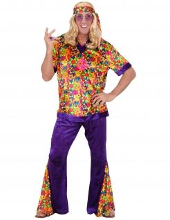 60er Hippie Samt Kostüm lila-bunt