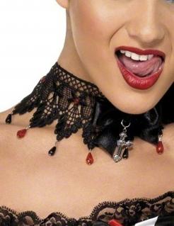 Gothic Barock Strass Halsband Collier schwarz-rot