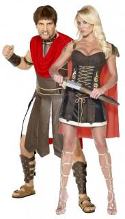 Gladiatoren-Paarkostüm für Erwachsene braun-rot