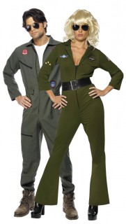 Top Gun Piloten-Kostüm für ein Paar in Grün und Grau