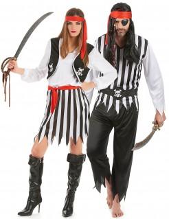 Piraten-Paarkostüm für Erwachsene schwarz-weiß
