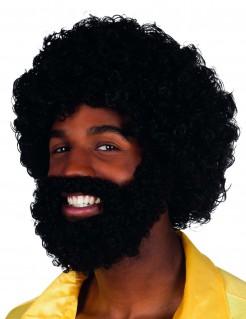 70er-Herrenperücke Afro mit Vollbart Disco-Kostümzubehör schwarz