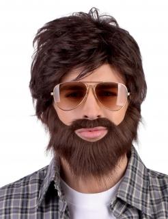 Entspannter Dude Herrenperücke mit Bart Hipster-Perücke braun