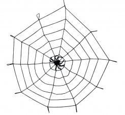 Halloween Spinnennetz Dekoration mit Spinne schwarz