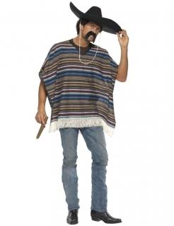 Mexikaner Western Poncho Kostüm braun-blau-gestreift