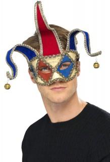 Venezianische Maske Narr weiss-blau-rot
