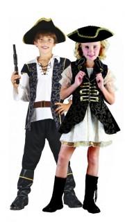 Piraten-Paarkostüm für Kinder schwarz-weiss-gold