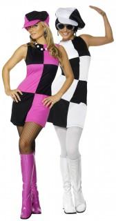 Disco Paarkostüm schwarz-weiß und schwarz-rosa