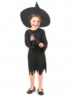 Mädchen Hexenkostüm Halloween schwarz