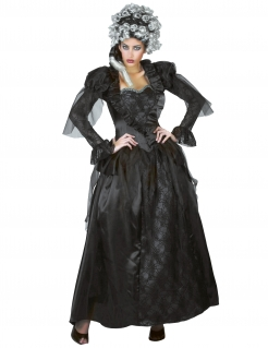 Edle Barock-Vampirin Halloween-Damenkostüm Spinnen schwarz-violett