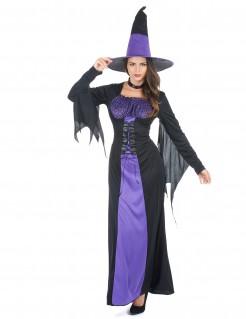 Verführerische Gothic-Hexe Damenkostüm schwarz-lila