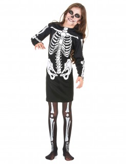 Halloween-Kostüm Skelettmädchen schwarz-weiss