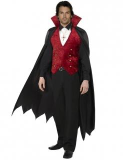 Vampirumhang Deluxe mit Weste Dracula schwarz-rot