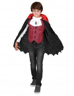 Halloween Vampir-Kostüm für Jungen schwarz-weiss-rot