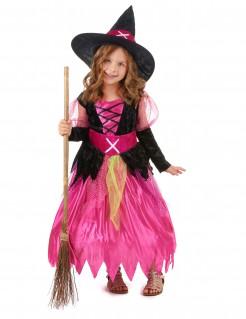 kleine Hexe Mädchen Halloween-Kostüm pink-schwarz-grün