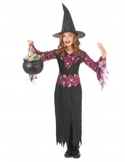 Gothic-Hexe Kinderkostüm schwarz-lila