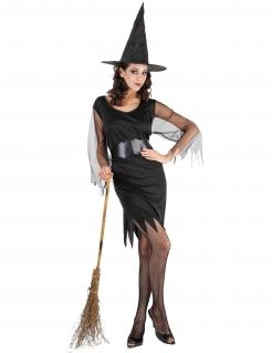 Hexe Halloween-Damenkostüm schwarz