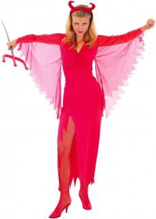 Elegante Halloween-Teufelin Damenkostüm Dämonin rot