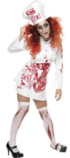 Blutverschmierte Köchin Damenkostüm weiss-rot