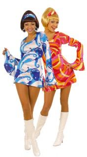 Disco-Paarkostüm für Damen im Retro-Stil, blau und rot