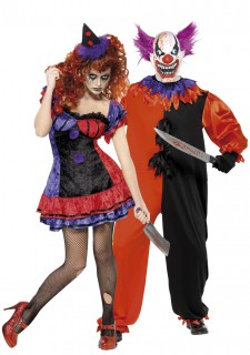 Horrorclown-Paarkostüm für Halloween bunt