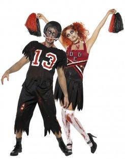 Zombie-Footballspieler und Zombie-Cheerleader - Paarkostüm für Erwachsene schwarz-rot