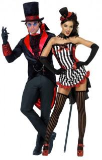 Vampir-Paar - Halloween-Kostüm für Erwachsene, rot-schwarz-weiß