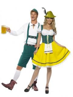 Bayrisches Kostüm für Paare - Dirndl und Lederhose - grün-gelb-weiß