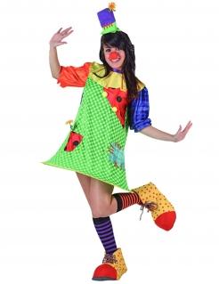Süsse Clownfrau Zirkus Damenkostüm Spassmacherin bunt