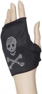 Fingerloser Handschuh mit Strass-Totenkopf schwarz