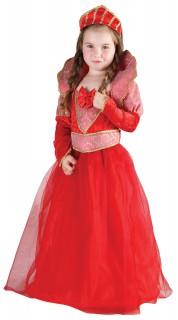 Königinnen-Kinderkostüm Königskleid rot-rosa-gold