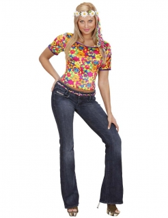 Hippie Samt-Damen-Shirt Peace bunt