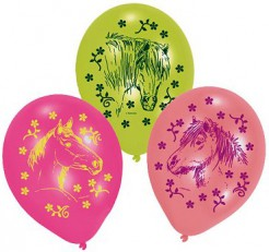 Luftballons Pferde Kindergeburtstag-Deko 6 Stück rosa-hellgrün 70cm