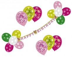 Pferde-Geburtstagsdeko Mädchen-Geburtstag Ballons und Girlande 26-teilig bunt